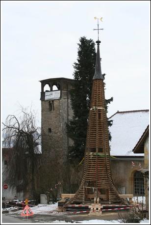 Le clocher du temple de Môtier
