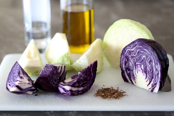 Salade tiède aux deux choux - delimoon.com - chou rouge et chou blanc