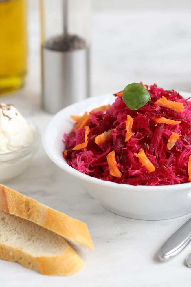 Salade de betterave et choucroute - delimoon.com